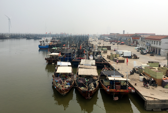 A massive fleet of fishing vessels sighted at Yangkou Fishing Port, Shouguang, Shandong Province, China.