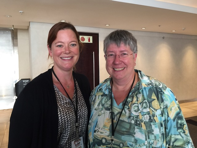 Sarah with Ute Grimm, the CITES nomenclature specialist (Ute retired at this CoP and seahorse taxonomy was her very last agenda item!).