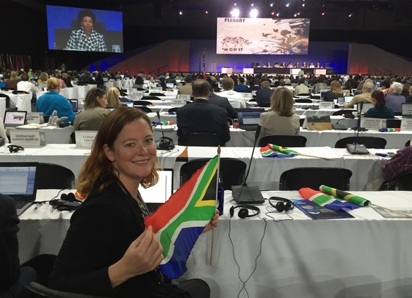 Dr. Sarah Foster at CITES CoP17 in Johannesburg, South Africa