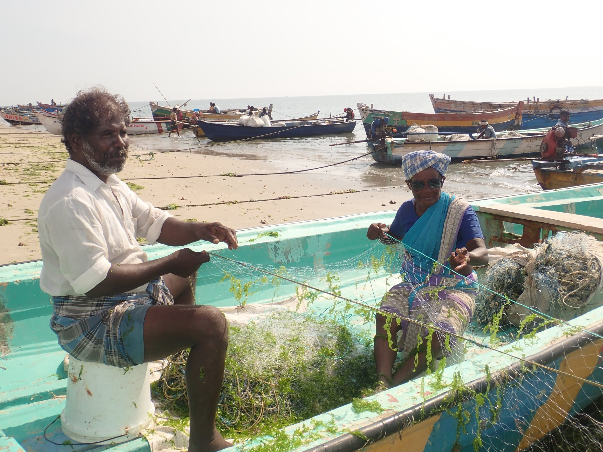 Crab gillnet fishers at Vellapatti (Tuticorin area), India. Photo by Amanda Vincent/Project Seahorse.