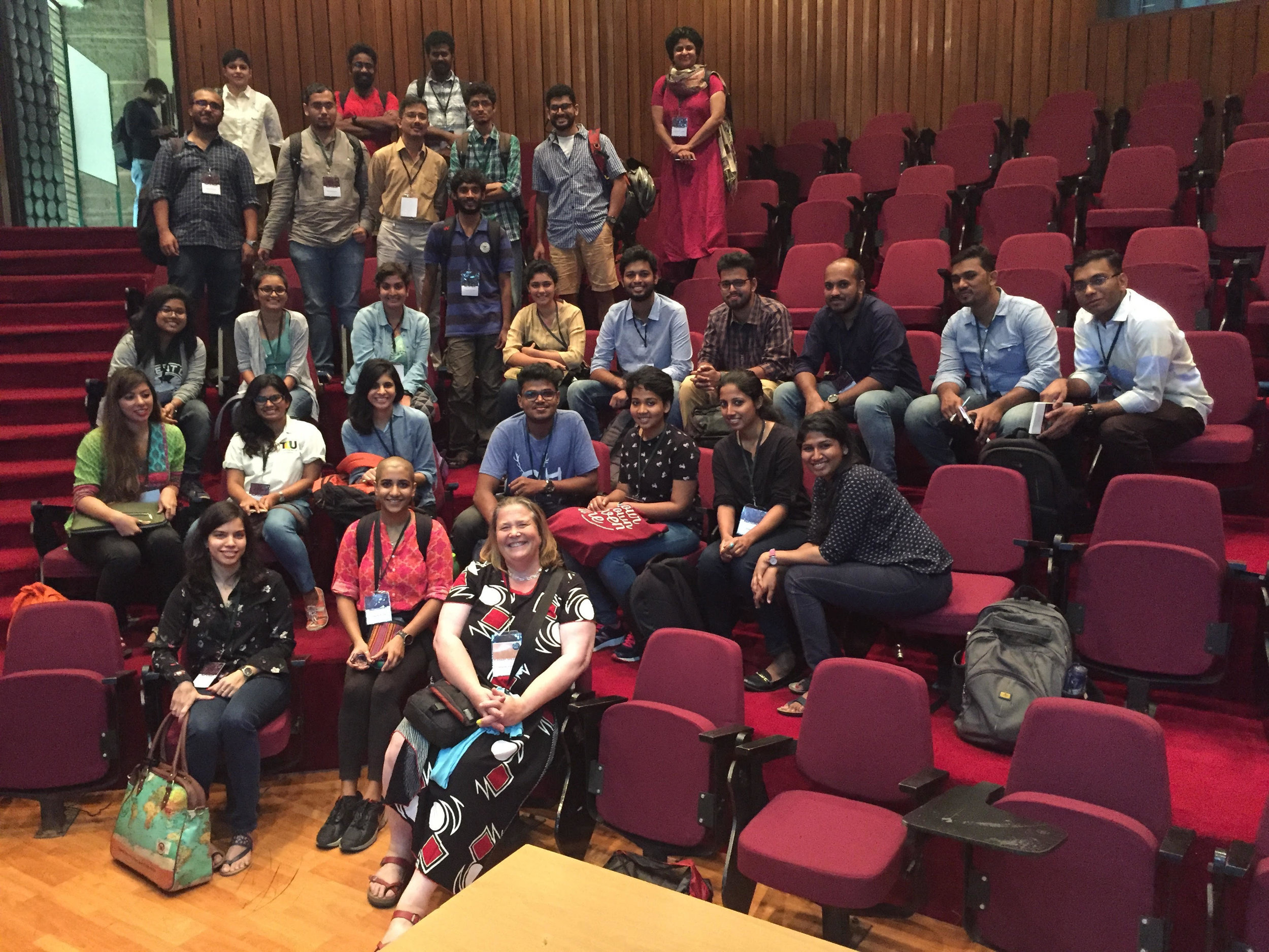 """Marine people gather during the """"Birds of a Feather"""" break out session at SCCS Bengaluru - a small portion of the whole [note TV in last row].jpg"""