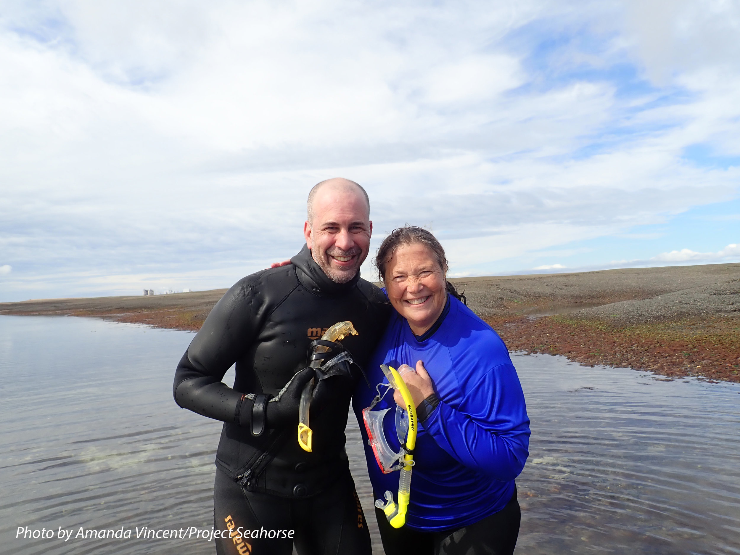 Diego and Amanda, happy and excited after finding multiple Patagonian seahorses