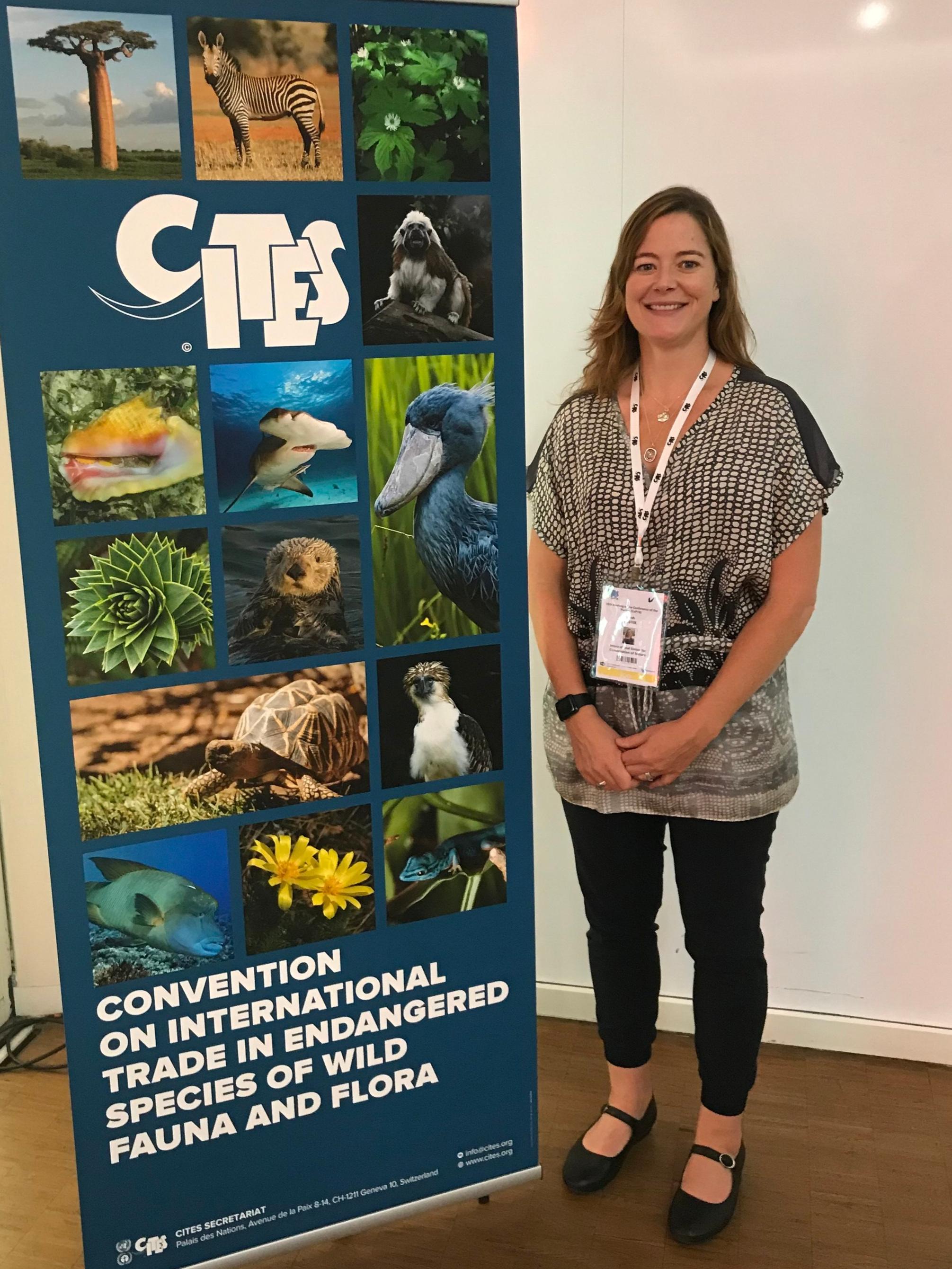 Sarah Foster at the CITES CoP18 meeting in Geneva, Switzerland.
