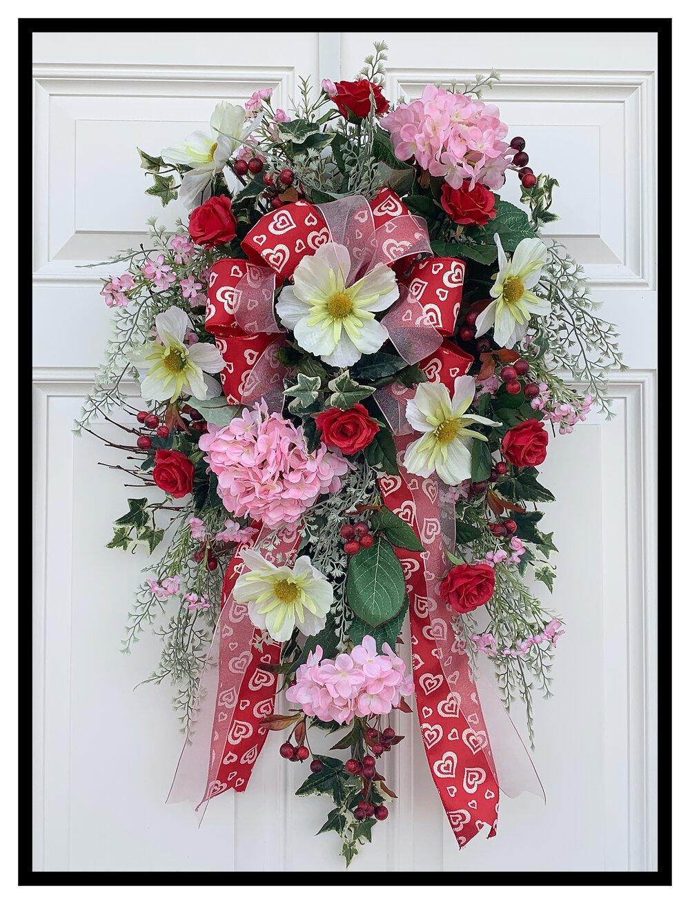 Spring Swag Wreath,Spring Teardrop Swag,Floral Swag,Spring Wreaths for Front Door,Spring Summer Swag,Easter Swag,Elegant Wreath,Spring Decor