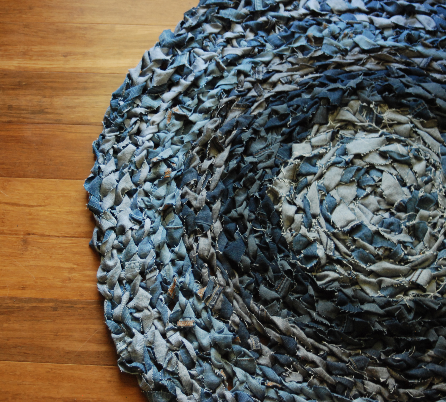 Herstellen Round Rug, 2017, detail  |  Upcycled denim; hand crocheted.