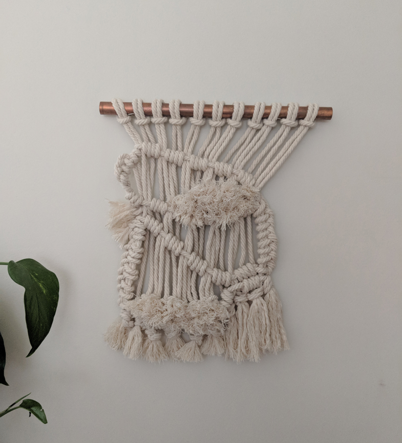 Beauty from Waste, Study #1  Reclaimed cotton rope, copper pipe. 11.5in W x 13in H. 2018