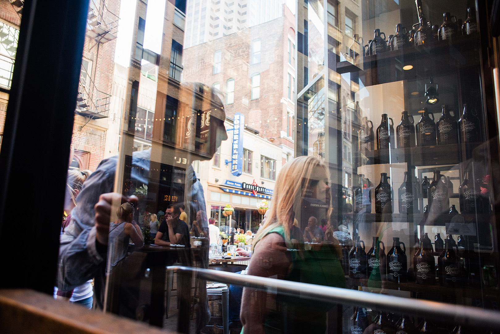 Patrons enter Butcher and Brewer on June 29 in downtown Cleveland, Ohio. (Dustin Franz/The Washington Post)