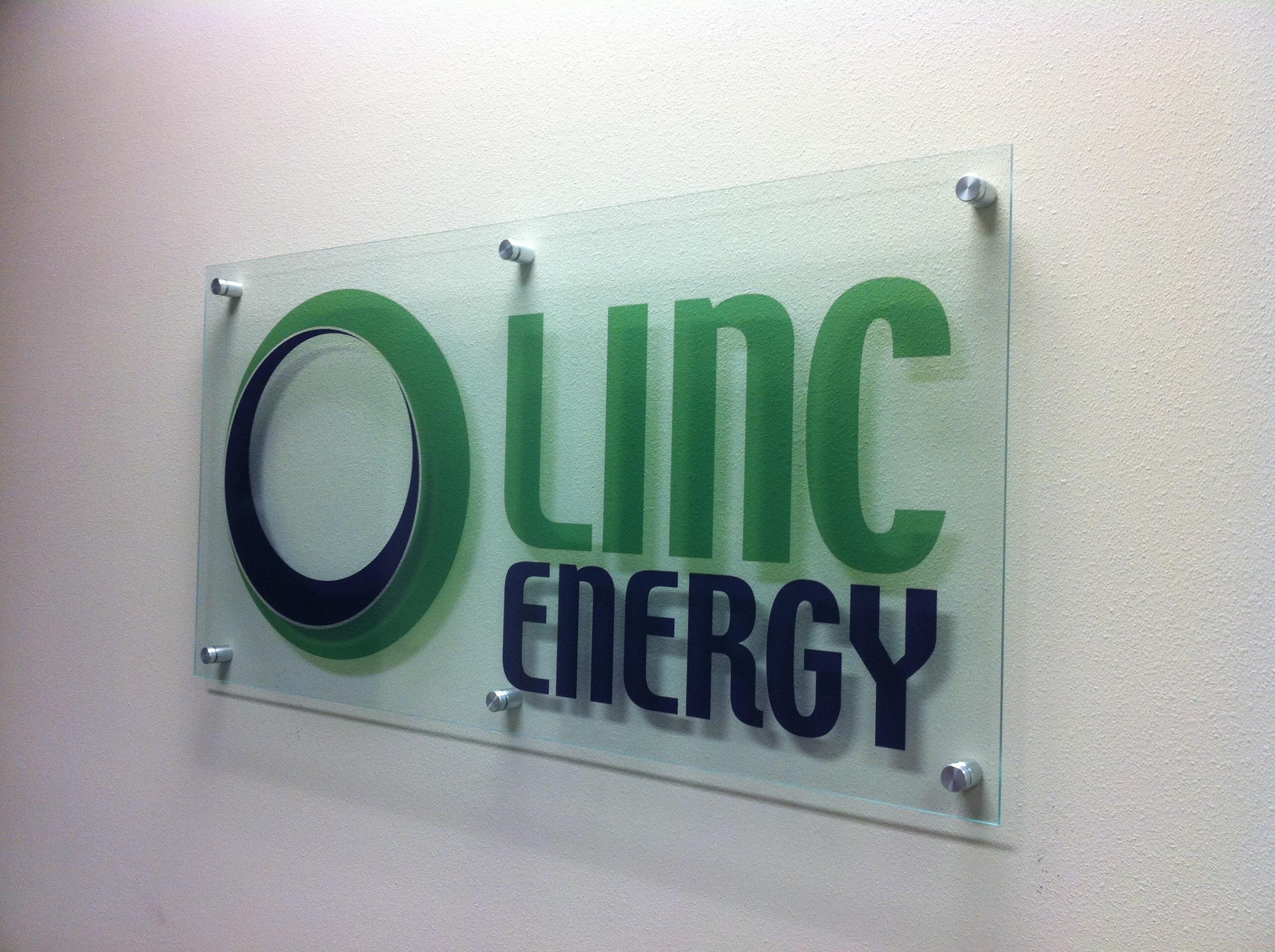 Logo printed on acrylic sign.