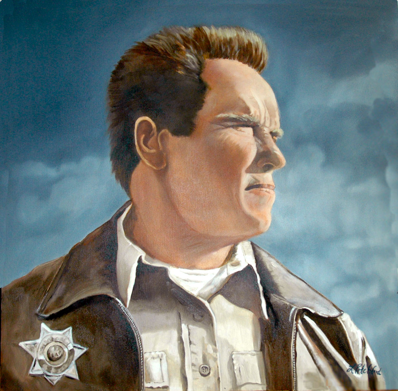 Commissioned work - Arnold Schwarzenegger in   The Last Stand   as Sheriff Ray Owens - SOLD
