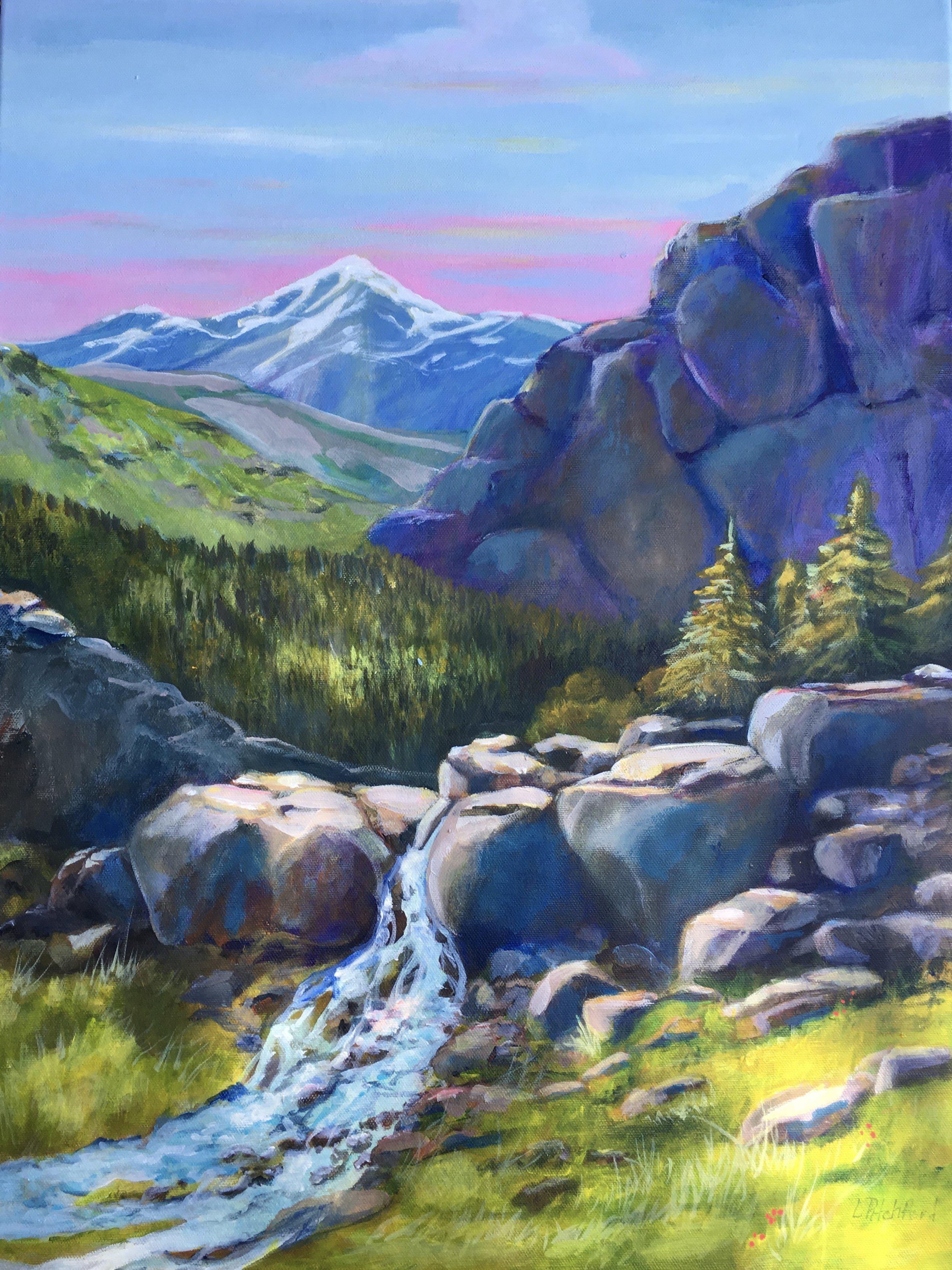 High Unita's, Utah mountain scenic acrylic painting.
