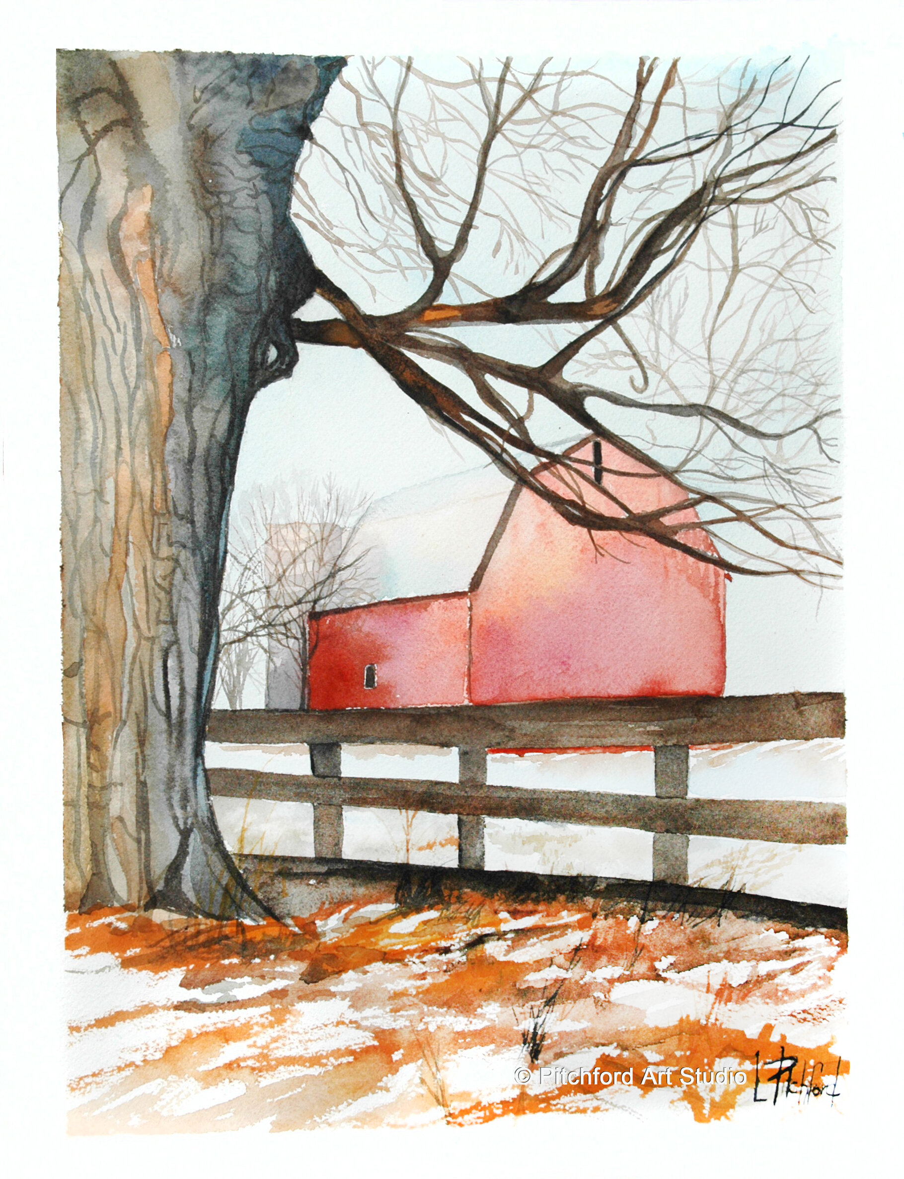 Winter Oak and Barn