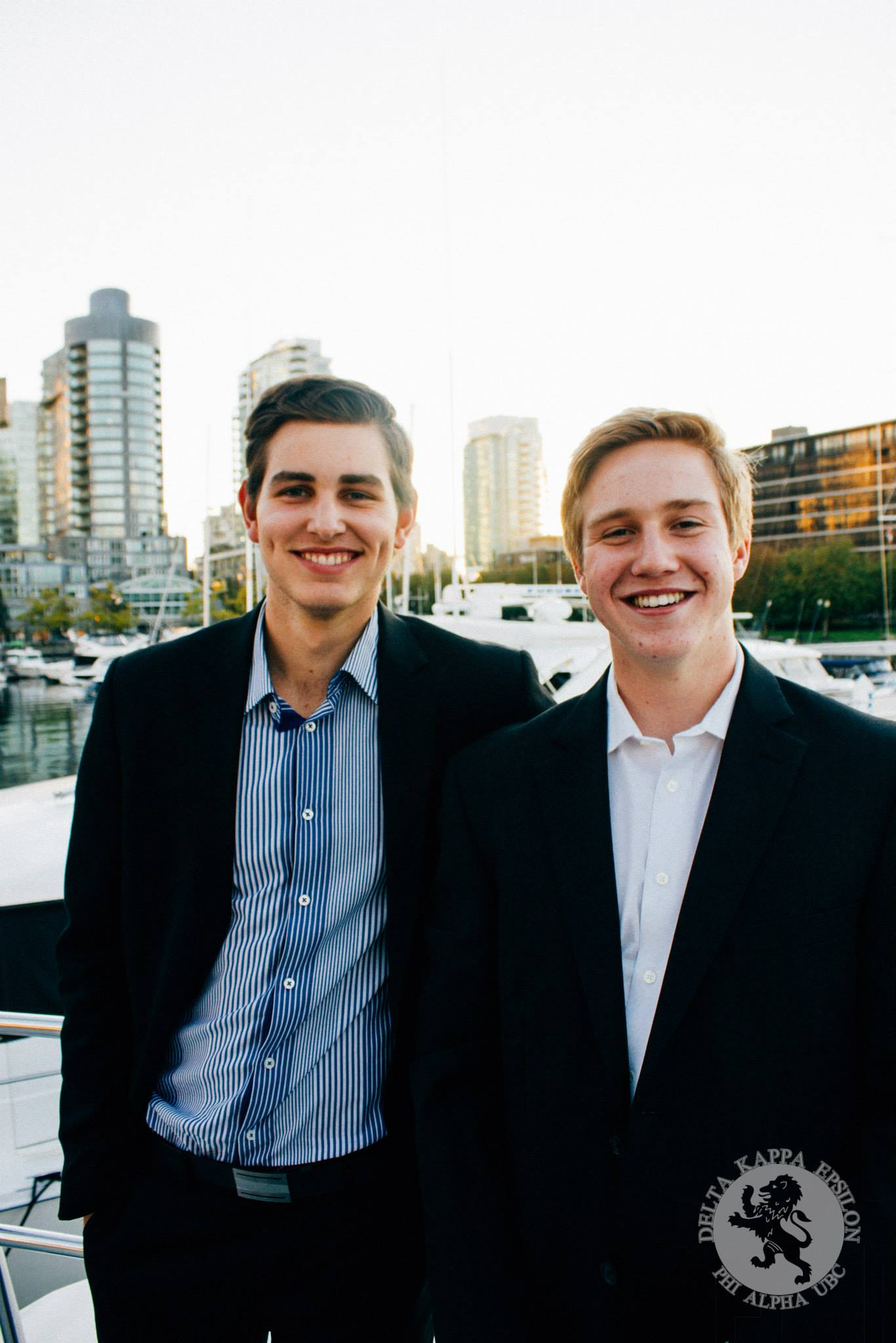 Brothers Wade and Scott cheesin at a rush event on Brother Sidwell's yacht.