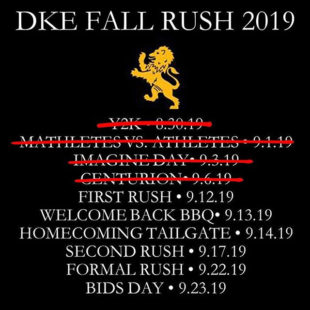 First Rush is just around the corner and we look forward to seeing you all there.  First Rush is your opportunity to learn more about how joining the ranks of the Delta Kappa Epsilon Fraternity will better you as a Gentleman, Scholar and Jolly Good Fellow. We welcome you to stop by the DKE house, for a more casual night, to meet the Brothers of DKE, to tour the DKE House and to learn about why DKE ranks as one of the top social fraternities in all of North America. ✊ ... 🔶Want to learn more about Delta Kappa Epsilon? If you're interested in rushing the Delta Kappa Epsilon Fraternity or have any questions regarding the recruitment process, check out the link in our bio or feel free to shoot us a private message.  Κηροϑεν Φιλοι ἀει #DKE #rushdke #GoGreek