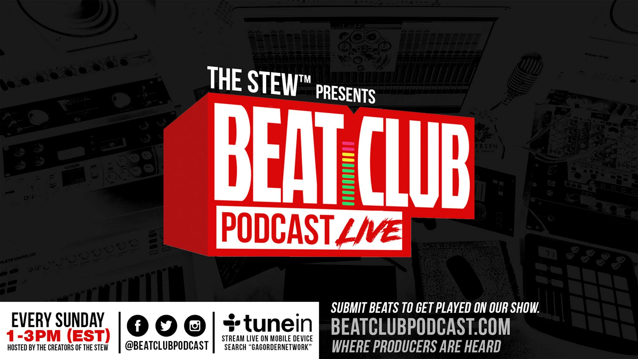 """The creators of The Stew have come together to create a radio platform for producers and creatives who loves beats. Listen in as our comedic and uncensored hosts share production from their growing community of producers, the Beat Club™, interview special guests and cover topics from a producers point of view.  Calling all Beatmakers & Producers. Sign up for FREE at the door & get your beats heard! We'll be doing our  #KeepItOrCutIt segment of the show live. One lucky beatmaker/producer will win a battle slot at the next Stew Beat Showcase in June.  Limited space. Early arrival recommended.  --  [EXHIBITION BEAT BATTLES]  TBA  --  Listen to past episodes here: www.beatclubpodcast.com. EVERY SUNDAY 1pm - 3pm EST we are LIVE on air. Listen by going to www.beatclubpodcast.com or download the TuneIn app and search """"Gag Order Network"""". You can also follow us at  www.soundcloud.com/beatclubpodcast and on iTunes.  --  Follow us on Instagram & Twitter: @BeatClubPodcast   Producer join our exclusive Facebook group: http://www.facebook.com/groups/beatclubpodcast   Follow the hosts: Loopz - IG: @doitallloopz  Twitter: @doitallloopz  Merren - IG: @authenticmerren  Twitter: @markmerren   Avi - IG: @artofficialavi  Twitter: @artofficialavi"""