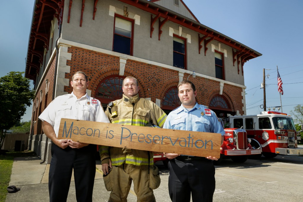 "Firefighters pose for Historic Macon's ""Macon is Preservation"" campaign that launched in 2015."