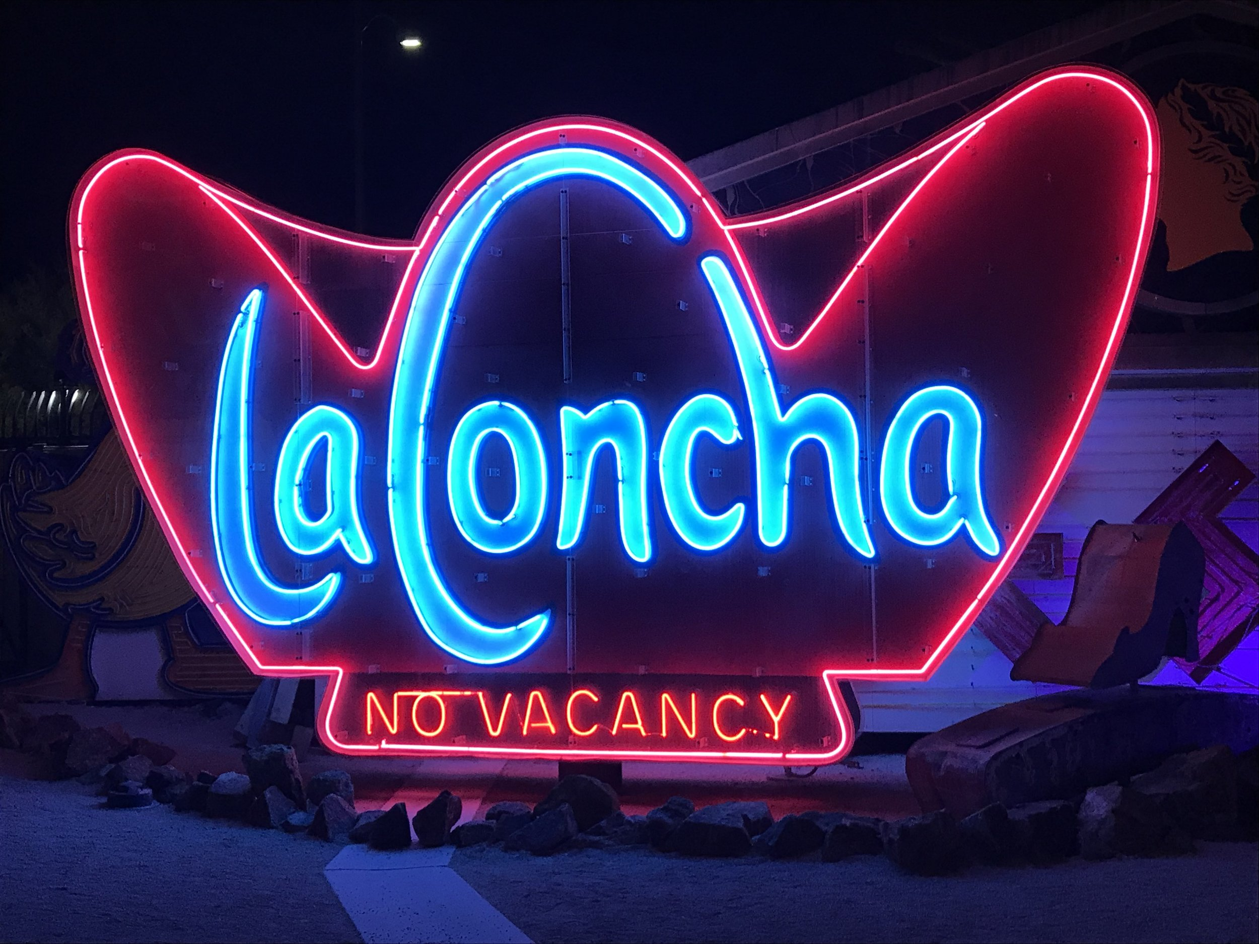 Whether or not signs are rehabilitated to function is decided on a case-by-case basis. La Concha's sign was relit for interpretive purposes, since the visitor's center is now housed in the moved original structure.  Image by Kim Campbell.