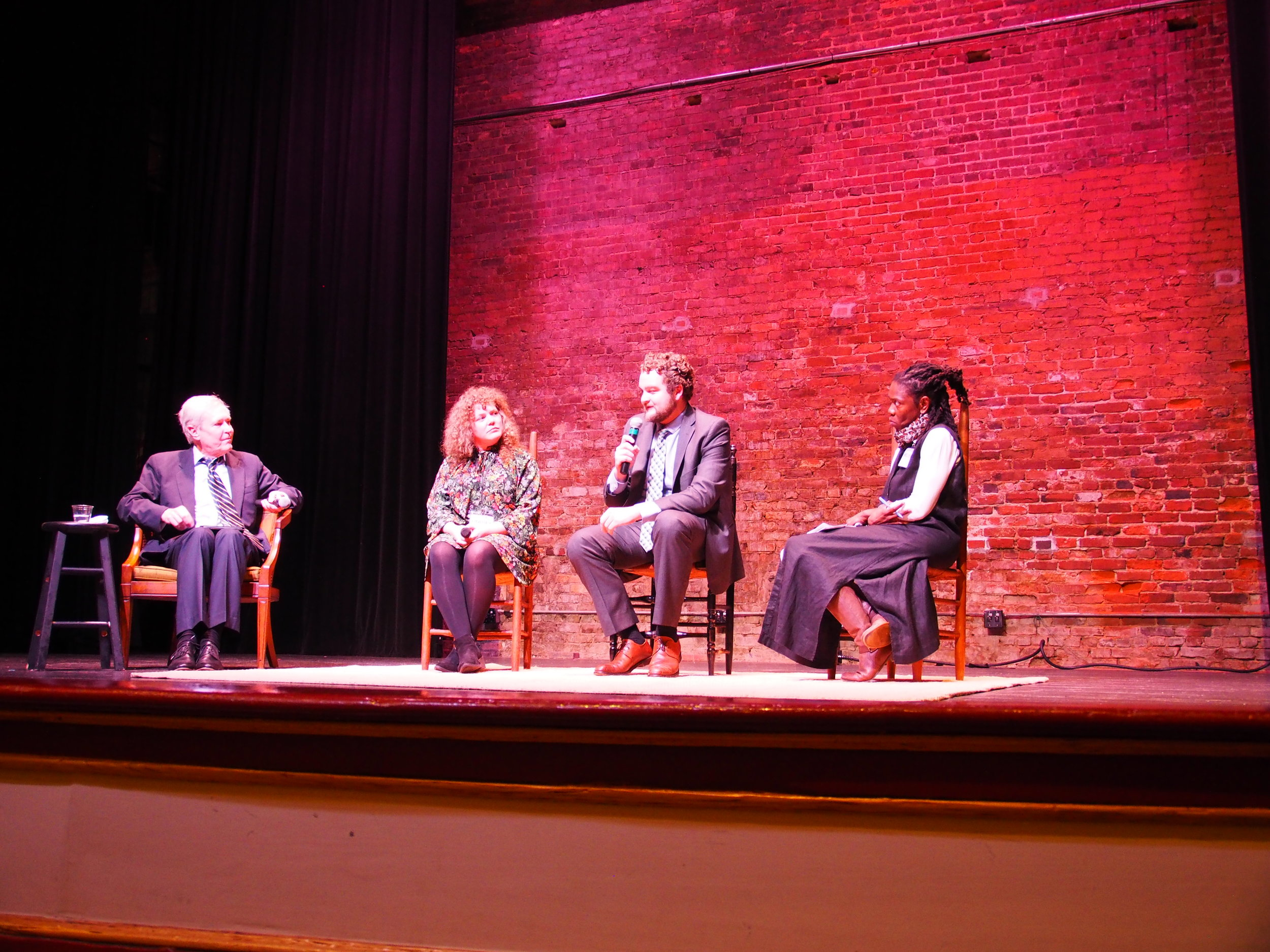 Revolving Fund Summit panelists—from left, author and researcher James Fallows, Lindsey Wallace of the National Main Street Center, Alex Morrison of the Macon-Bibb Urban Development Authority, and Melissa Jest of the Georgia Historic Preservation Division—discuss downtown development and potential growth. | Credit: Rachelle Wilson
