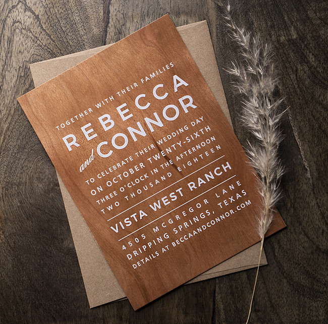 MODERN STACK WOOD INVITATION by Basic Invite