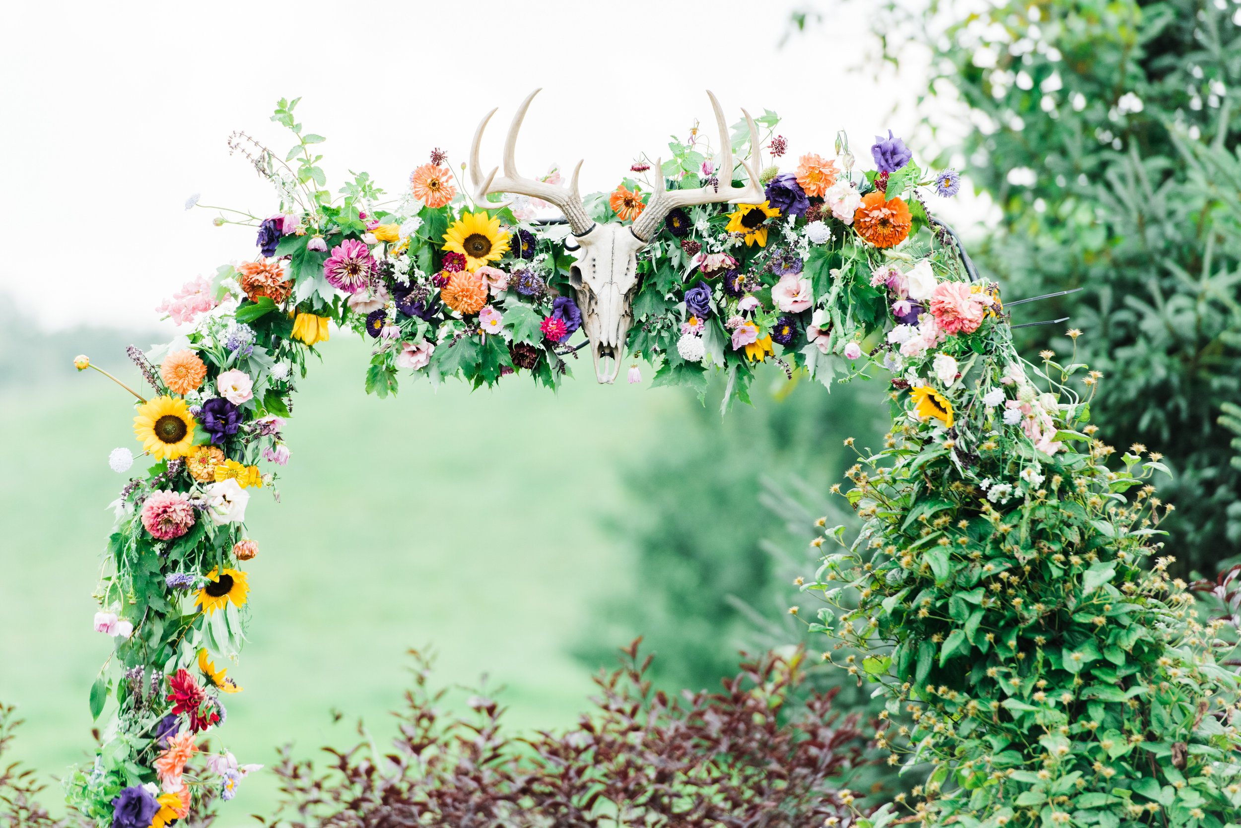 flower arch at  Armstrong Farms Wedding Venue