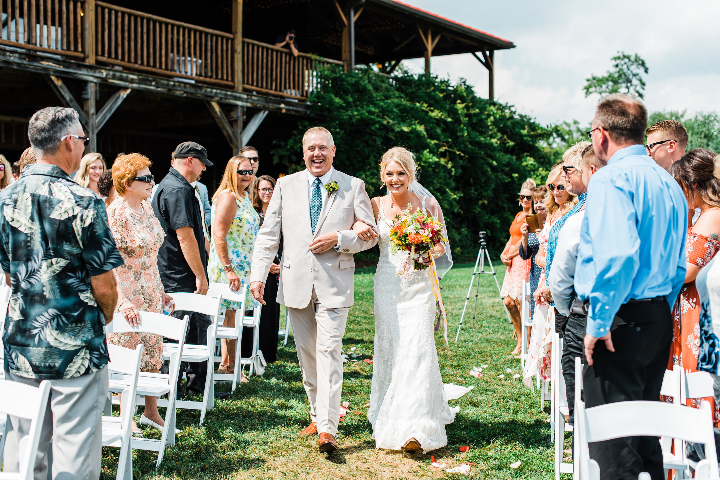 bride with father at Armstrong Farms Wedding Venue