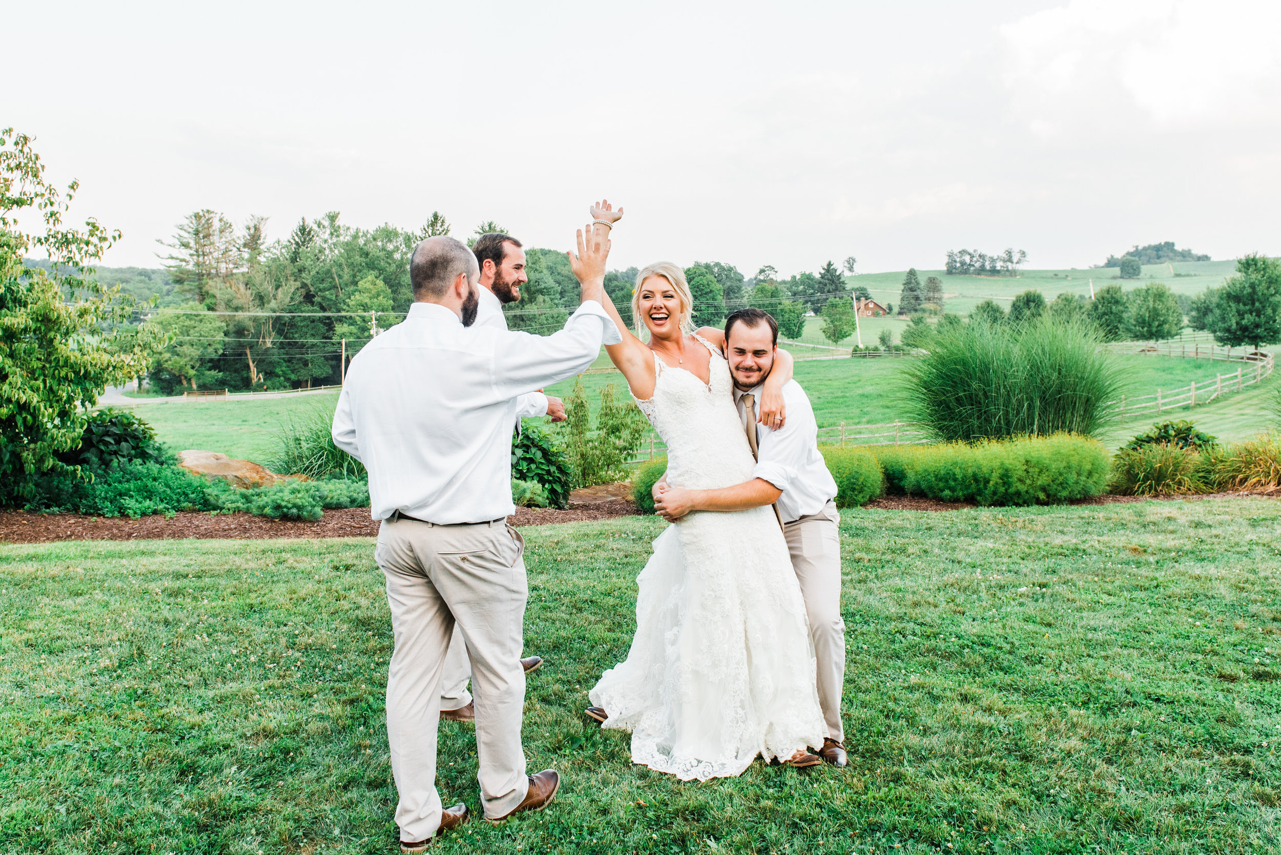 bride highfives