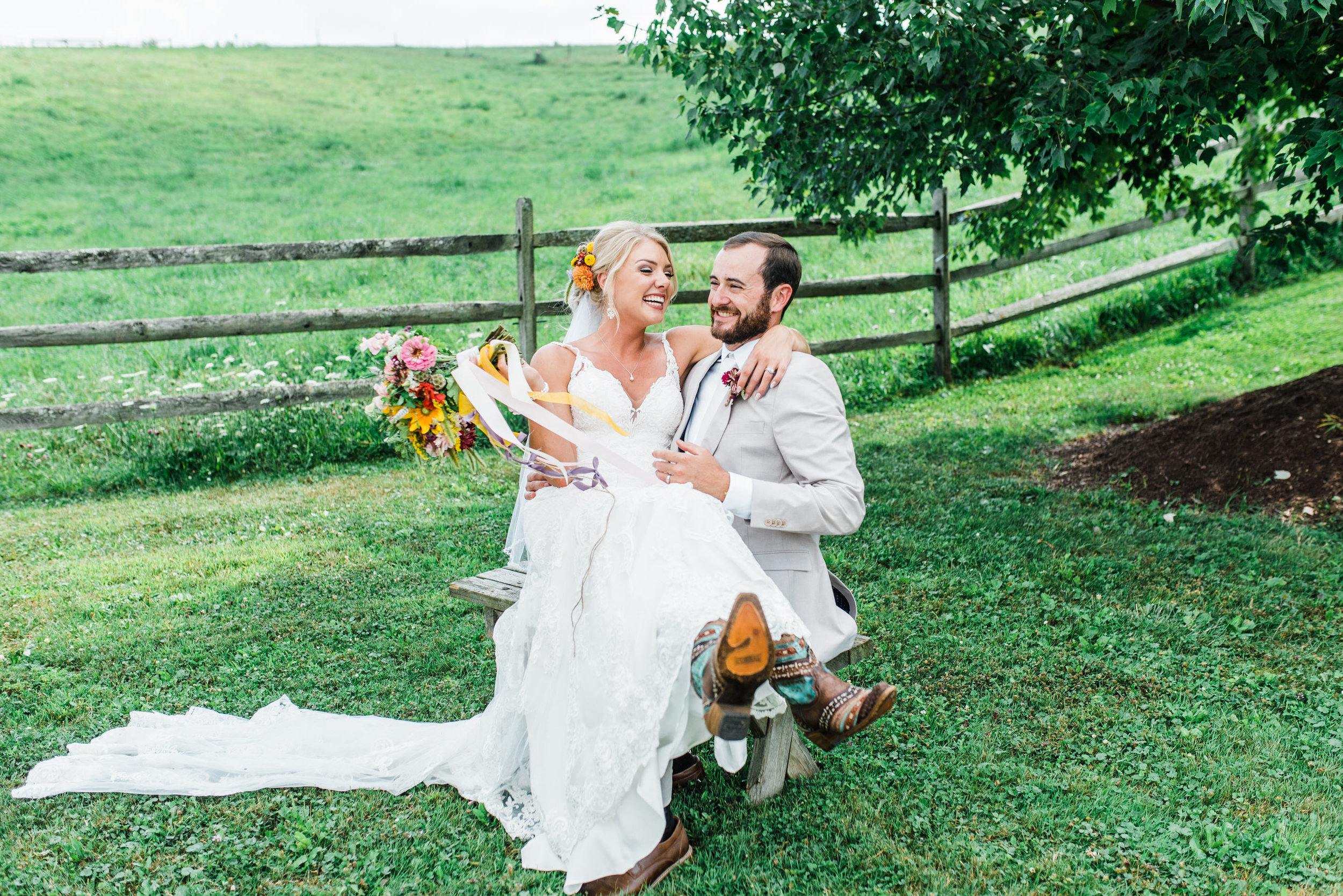 bride and groom at Armstrong Farms