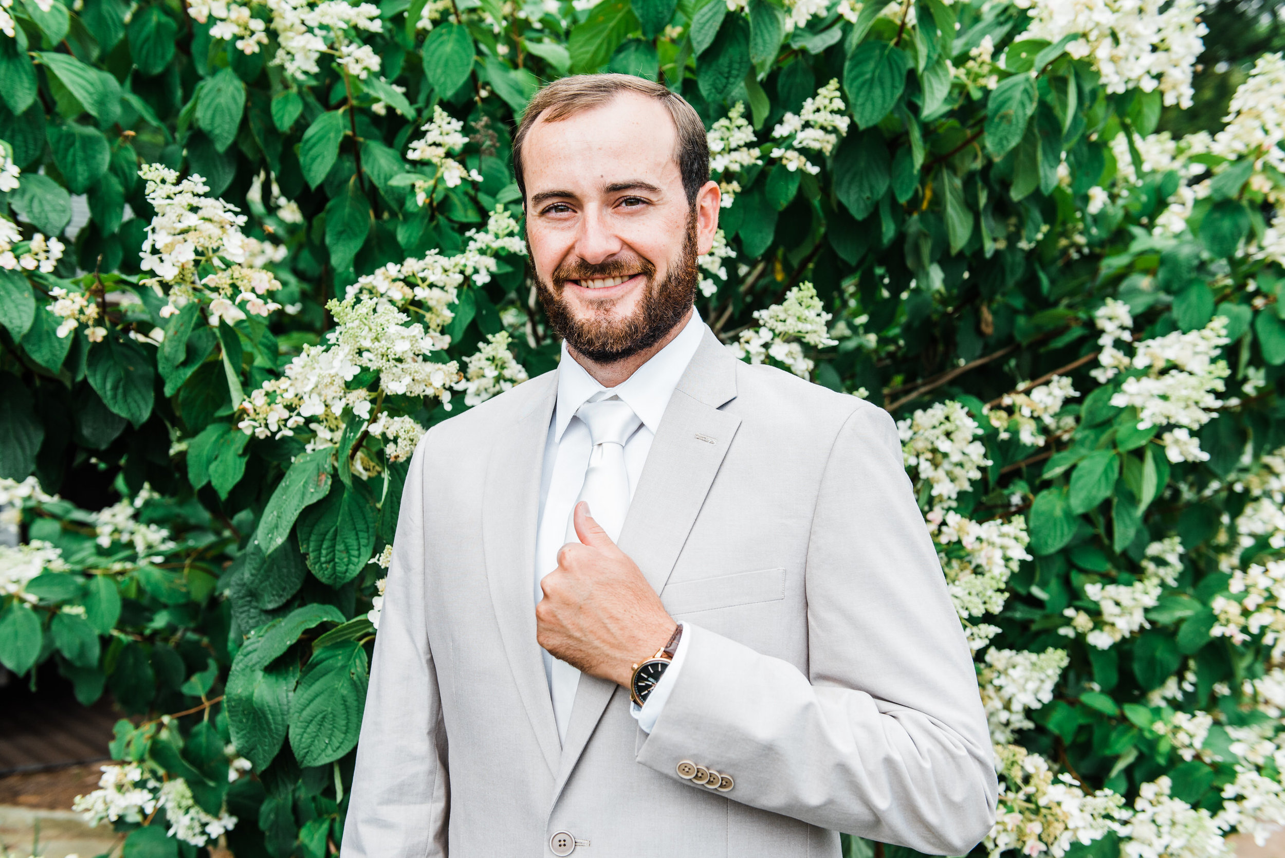 Groom at Armstrong Farm Wedding Venue
