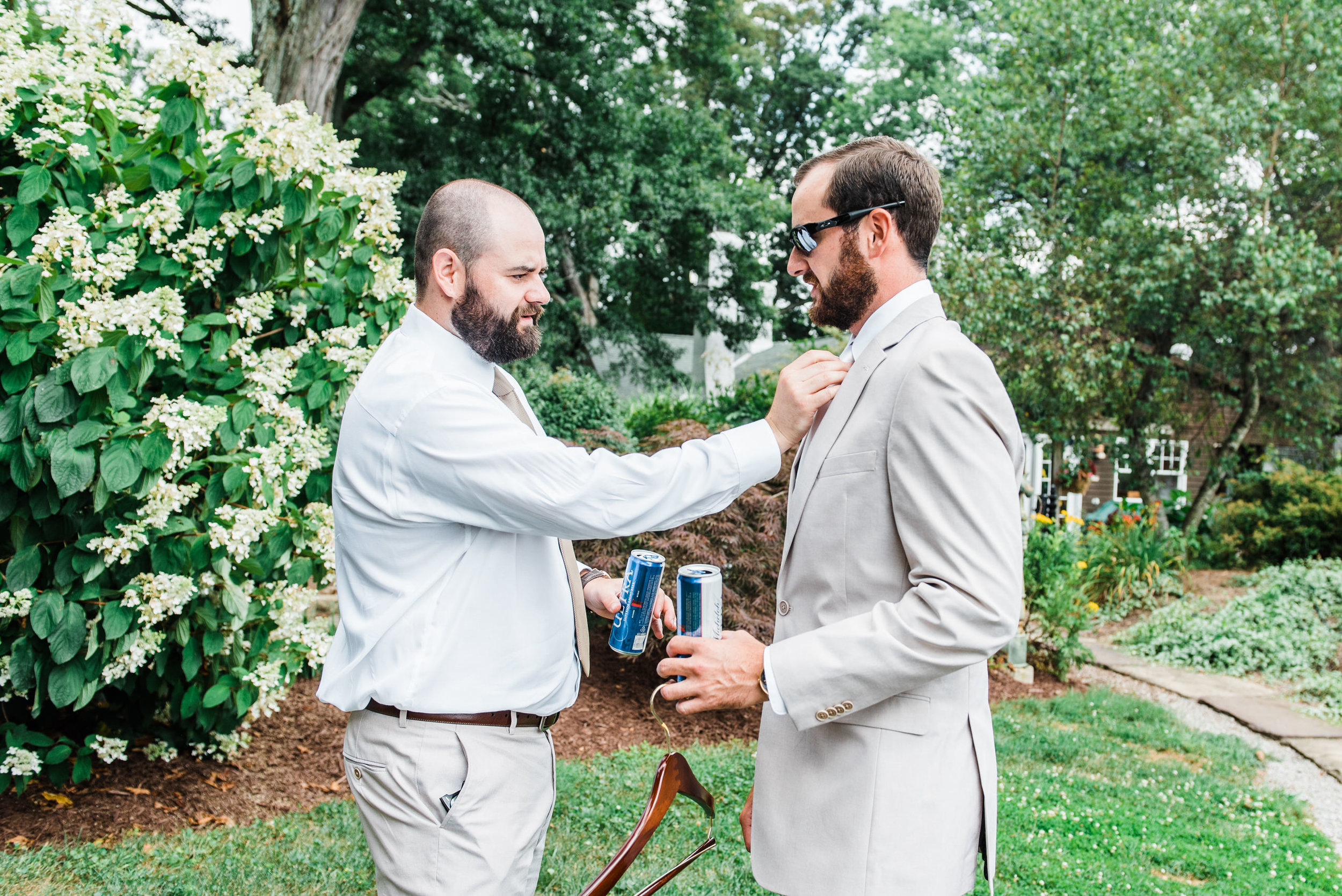 Groom and best man at Armstrong Farms