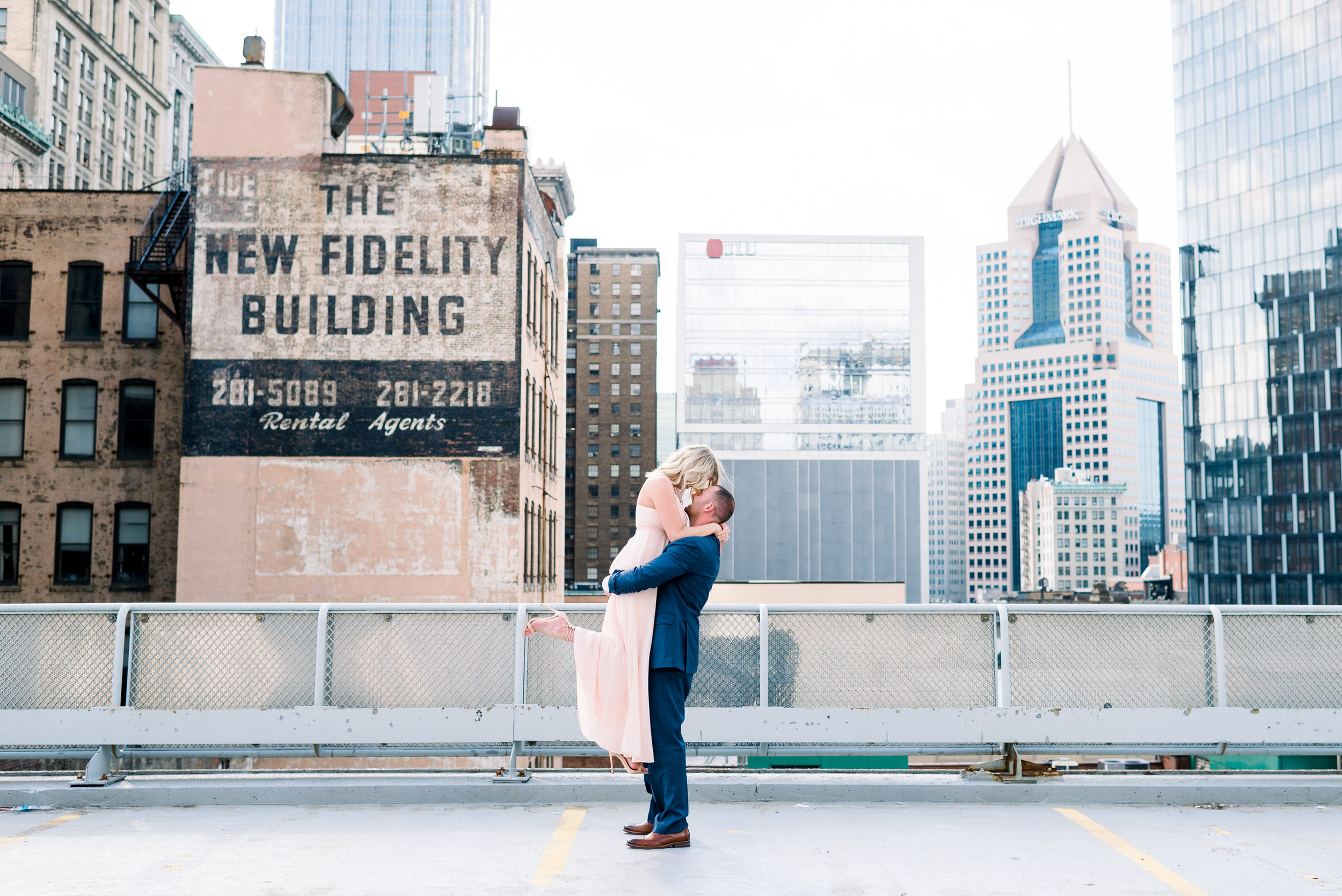 downtown pittsburgh rooftop engagement photos