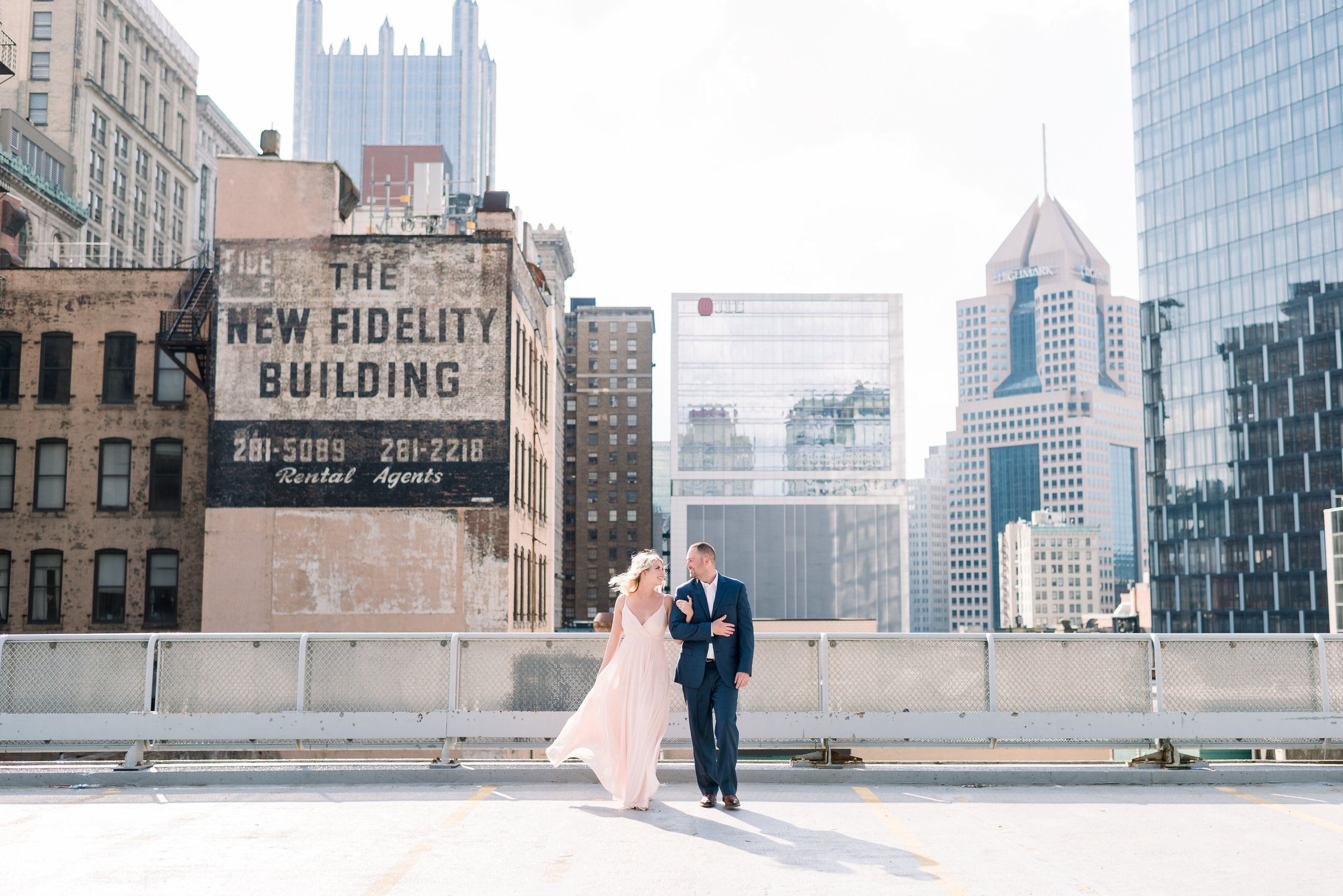 downtown pittsburgh rooftop engagement session