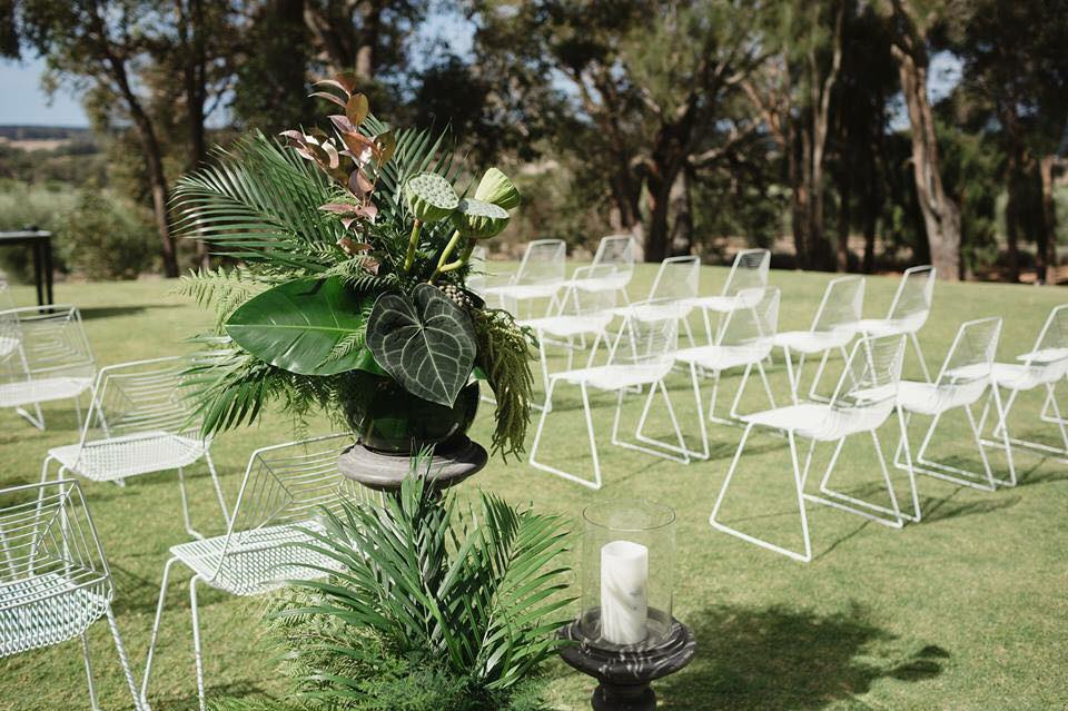 Hire in Style    Ceremony package   Choice of 32 chairs or 6 x benches 2 chairs AND Signing table Arbour or backdrop   Value: $550    receive a $200  vouchern WHEN YOU ADD   cocktail and reception furniture * Terms and conditions apply