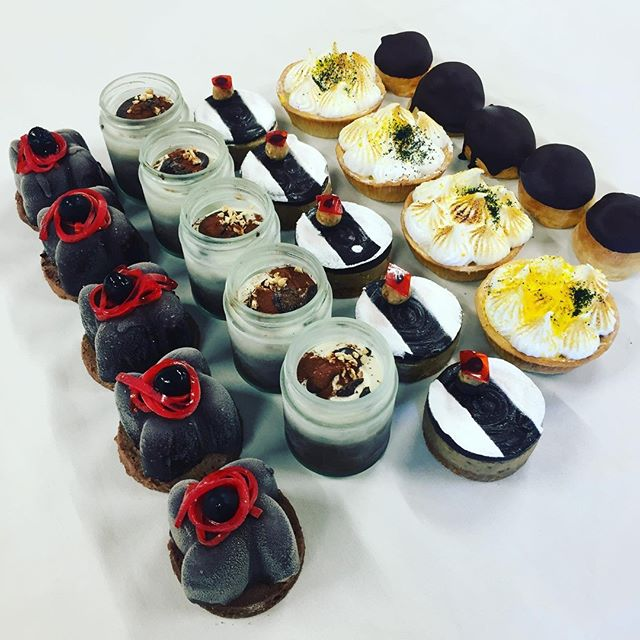 CLAUDIO BISCOTTI  re-imagine your dessert!⁠ L-R⁠ Chocolate, hazelnut and sour cherries mousse with sour cherrie spaghetti.⁠ Tiramisù!⁠ Caramel slice.⁠ Lemon meringue tarts⁠ Profiteroles⁠ ⁠ Fall in love with all kinds of delicious!⁠ @marrydownsouth⁠ @claudio_biscotti⁠ ⁠ #margaretriverweddings #destinationmargaretriver #weddingcake #weddingbuffet #weddingdesserts #marrydownsouth⁠ ⁠