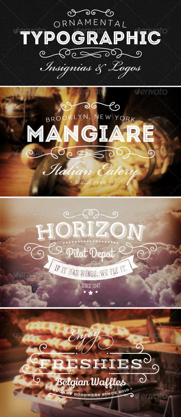 Ornamental Typographic Insignias and Logos via Graphicriver.net