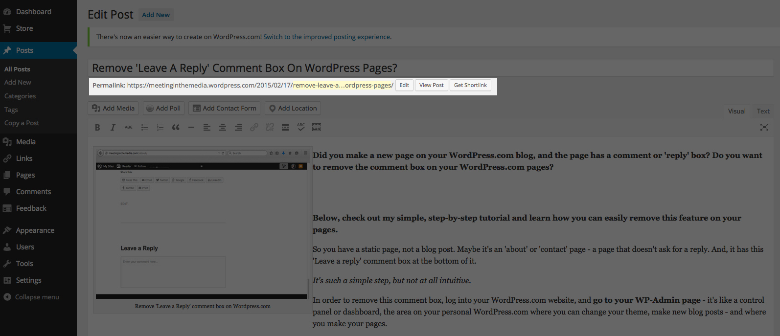 Permalink or 'permanent link' on a WordPress.com post.
