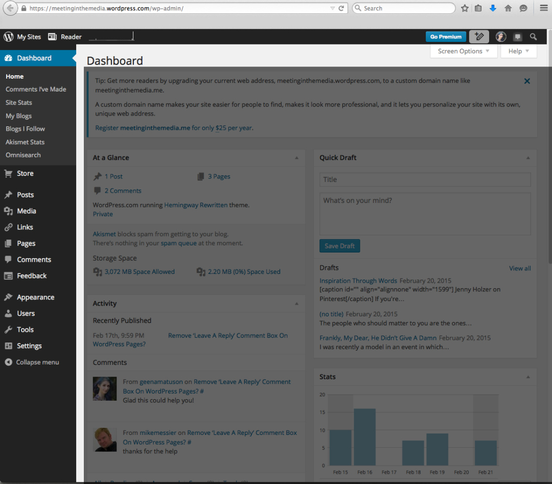 Screenshot of wp-admin panel or 'dashboard' on WordPress.COM.