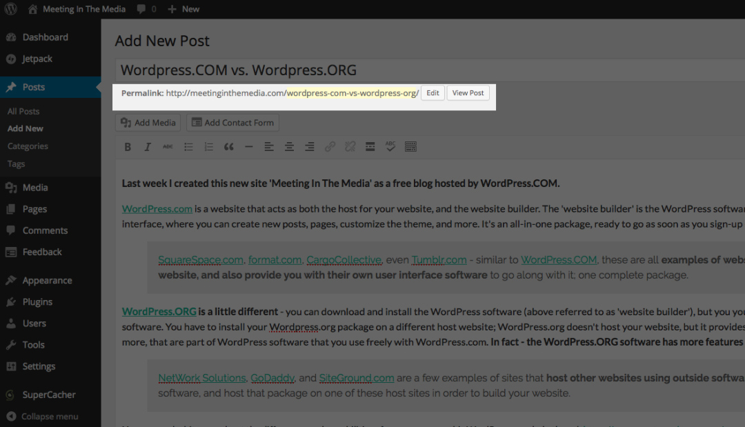 Example of a 'Permalink' or 'permanent link' on a WordPress post.