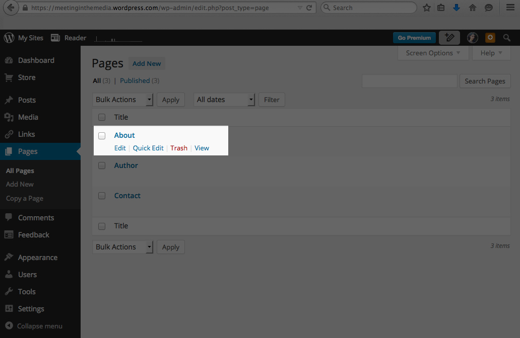 Inside WordPress.com 'Pages' view, hover and select 'Quick Edit'.