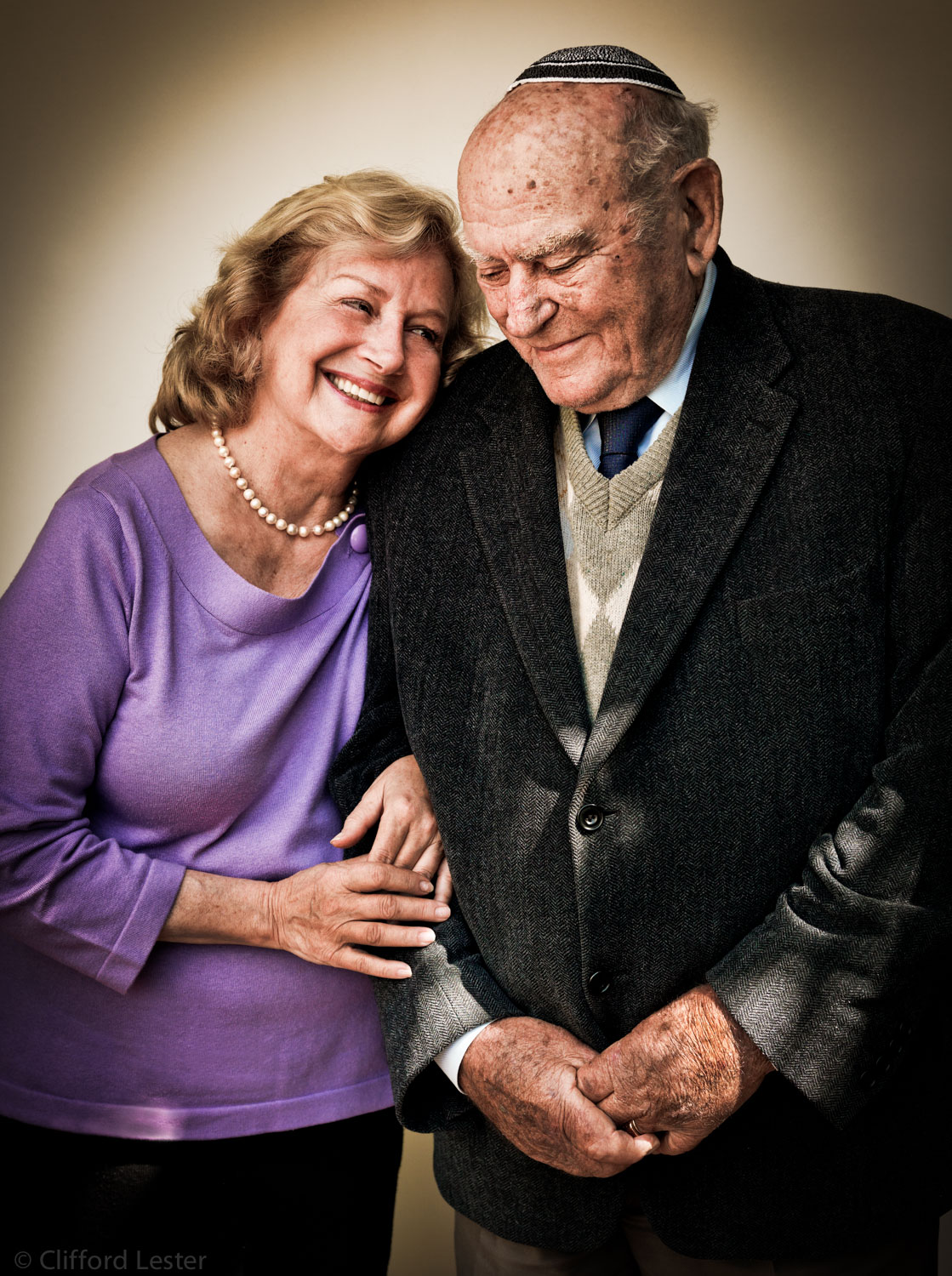 Natalie, photographed with her father, Leon. Photographed for the Rodgers Center of Holocaust Education, Chapman University.