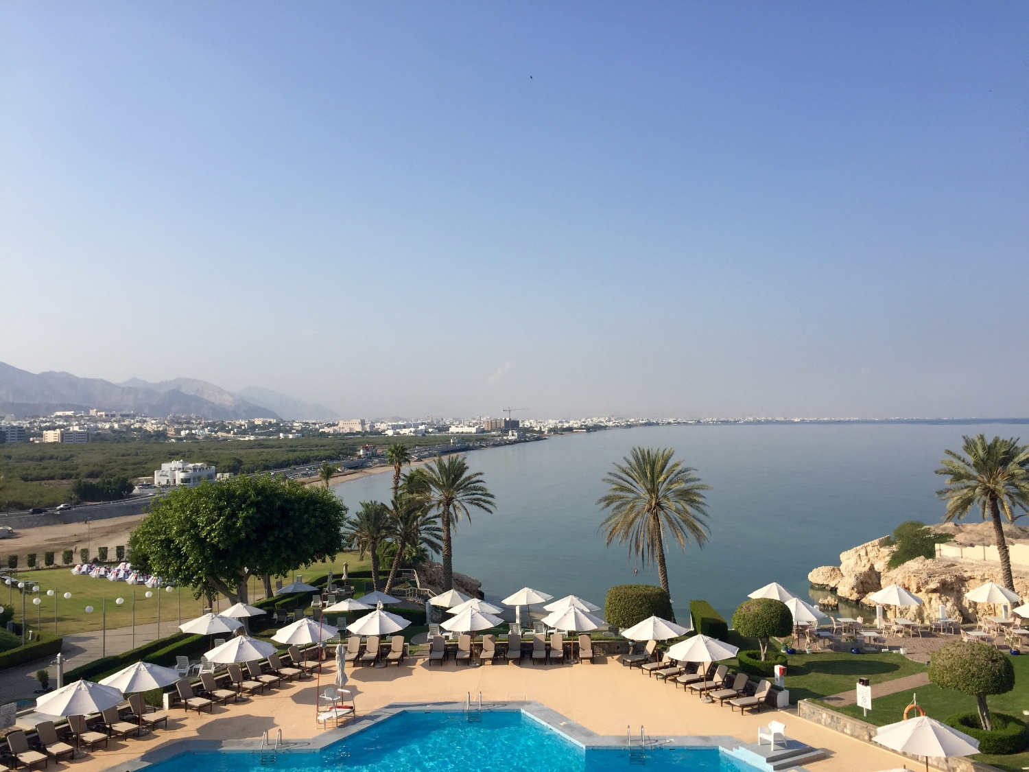 View from our balcony at the Crowne Plaza Muscat, Oman