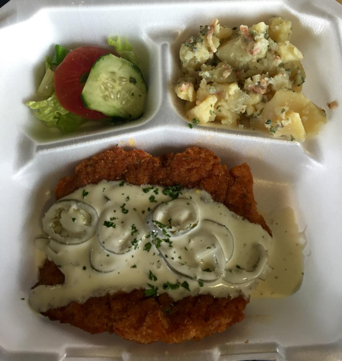 My jalapeno schnitzel with german potato salad