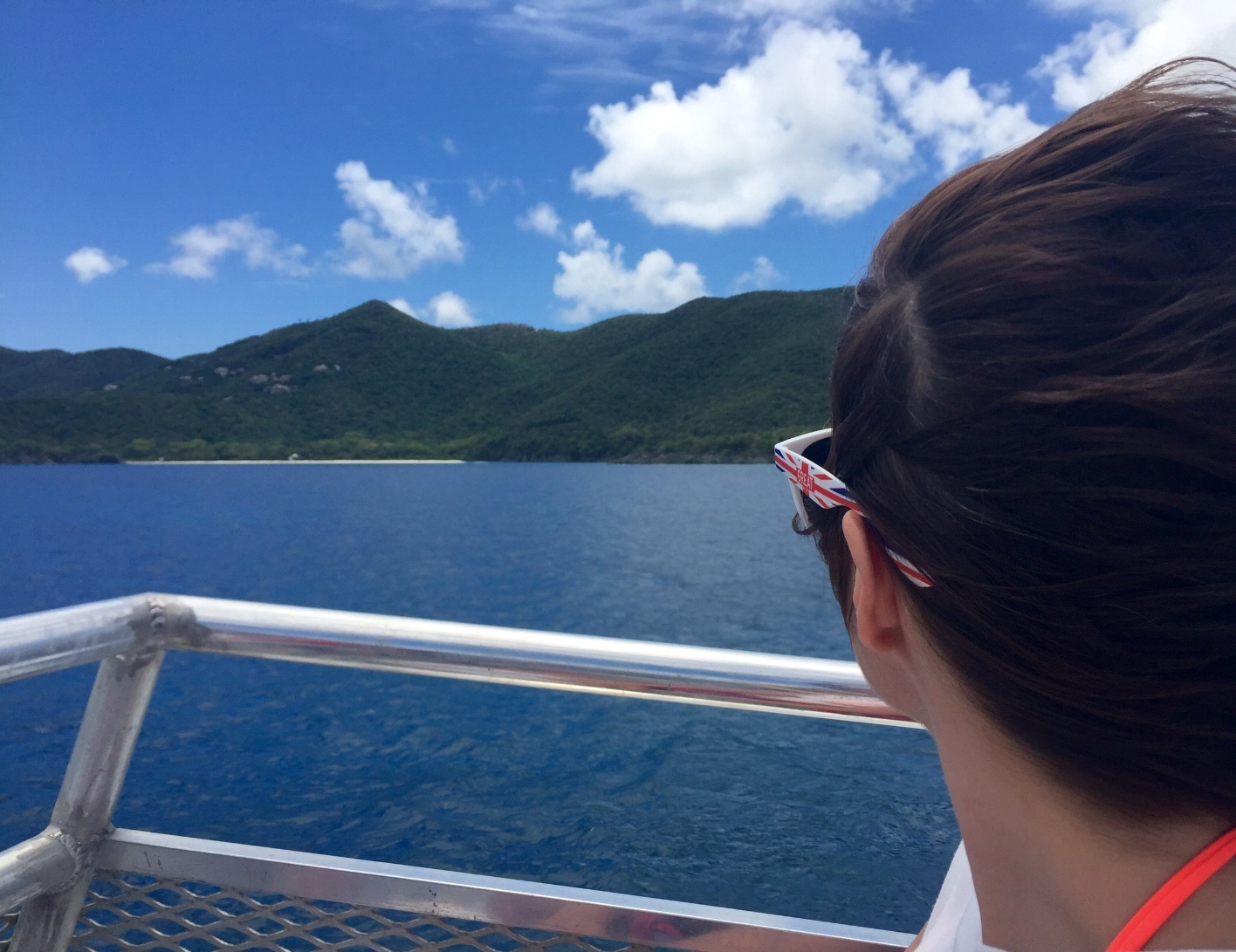 Carrie looking out at St. John on our way to Tortola