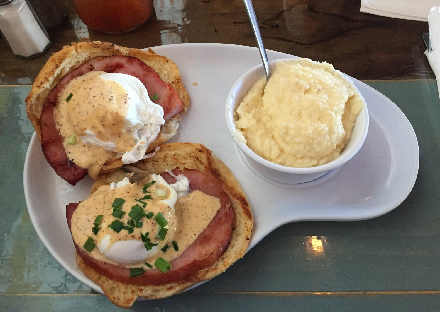Traditional Benedict with a side of grits