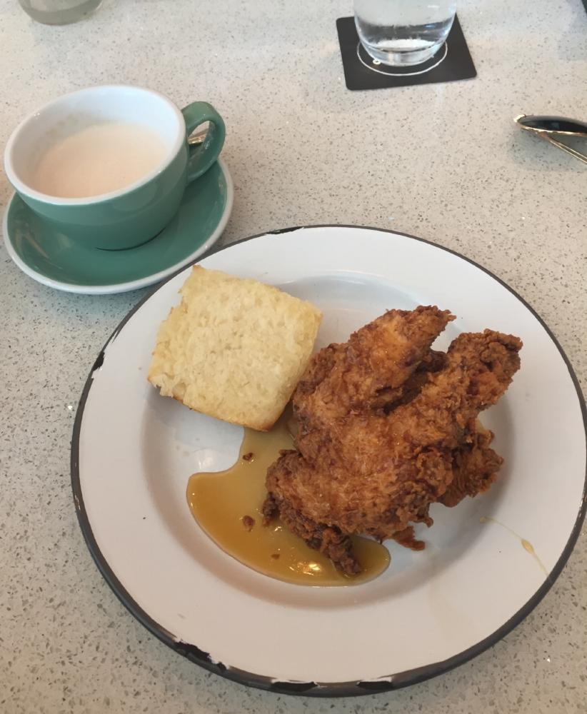 Masala Chai and chicken biscuit sandwich