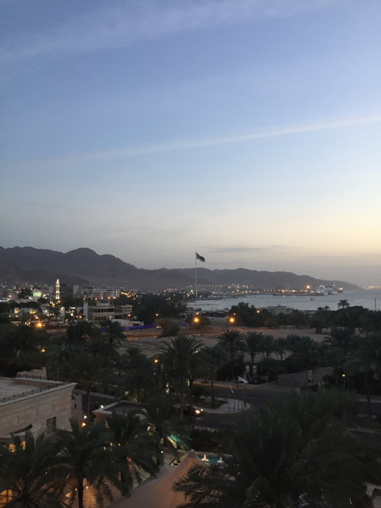 Aqaba at night. For what the room lacked, the view from our balcony could not have been better.