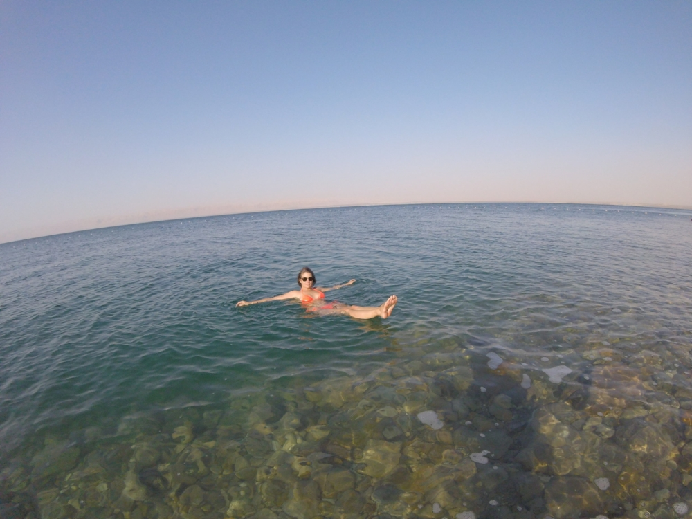 Carrie floating in the Dead Sea