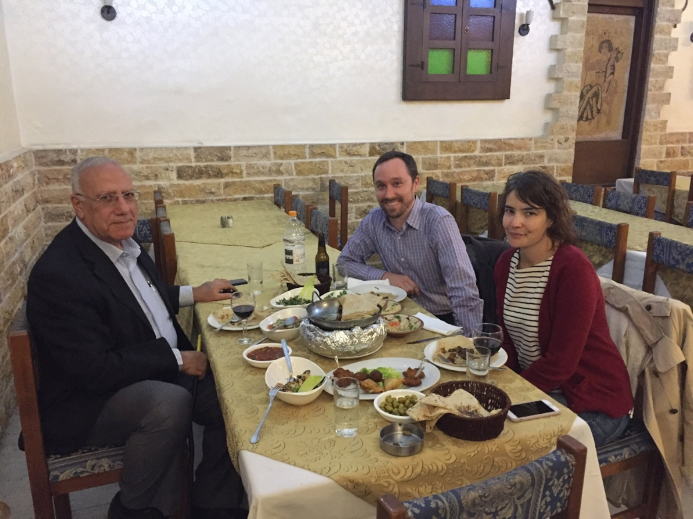 Our good friend Bassam and us enjoying a delicious meal at Dana Restaurant