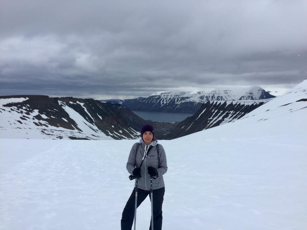 Carrie on top of Lars Glacier
