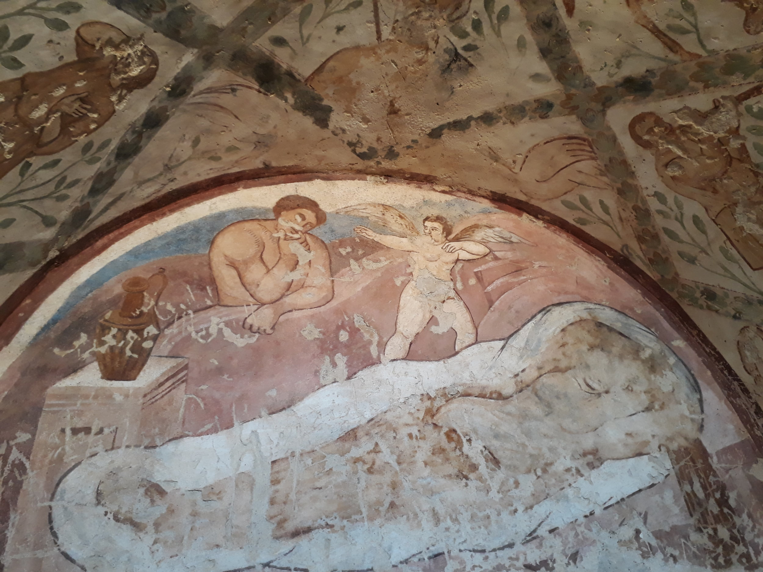 The inside of Amra castle is filled with murals