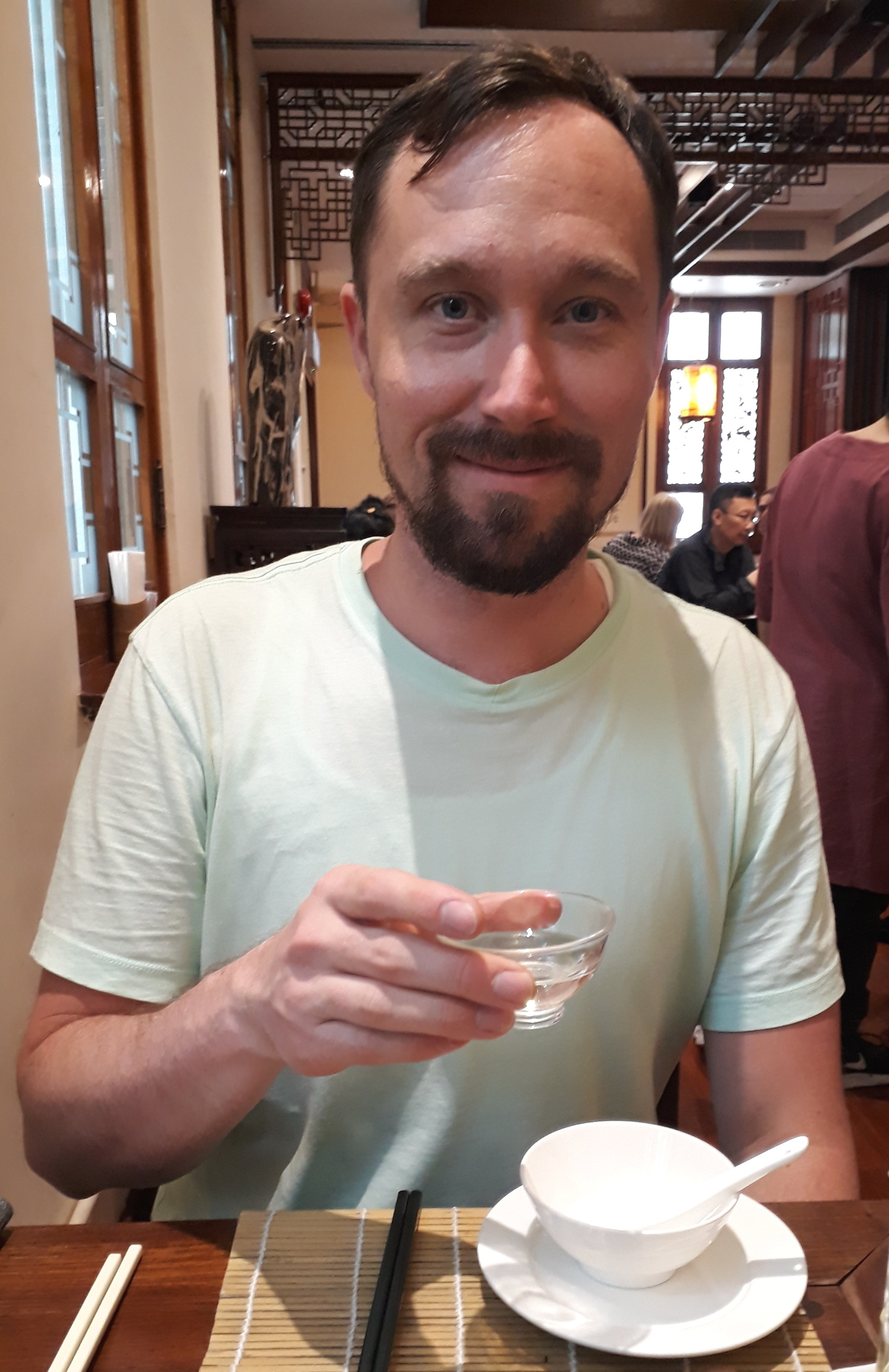 Tea time! Also, this is me after traveling from Taipei and walking around Hong Kong in hot weather :)