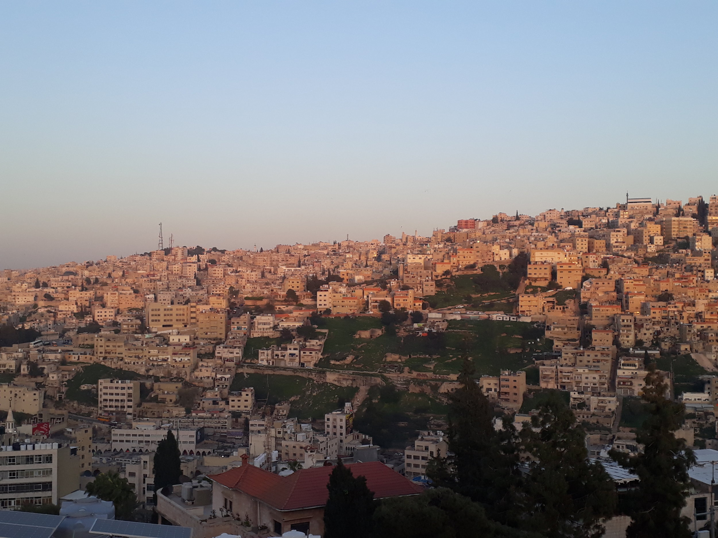 Sunset in Amman as seen from the panoramic rooftop